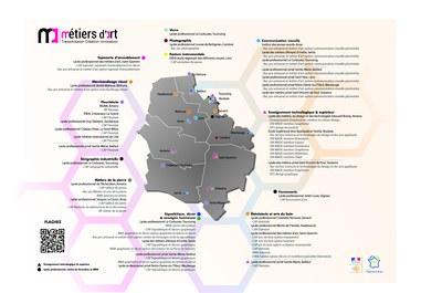 Carte des formations métiers d'art académies Lille Amiens